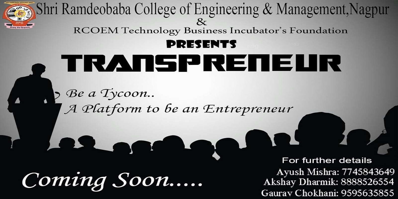 #RCOEM Technology Business Incubator's Foundation presents 'TRANSPRENEUR'